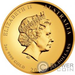 DRAGON AND TIGER Drachen 2 Oz Gold Münze 200$ Australia 2018