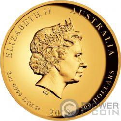 DRAGON AND TIGER Tigre 2 Oz Moneda Oro 200$ Australia 2018