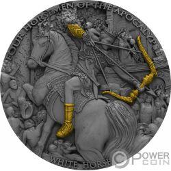 WHITE HORSE Caballo Blanco Four Horsemen Of The Apocalypse 2 Oz Moneda Plata 5$ Niue 2018