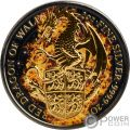 BURNING DRAGON Ardiente Queen Beasts 2 Oz Moneda Plata 5£ United Kingdom 2017