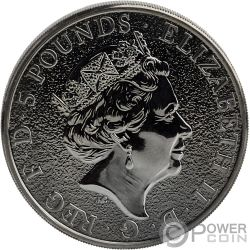 BURNING DRAGON Queen Beasts 2 Oz Silver Coin 5£ United Kingdom 2017