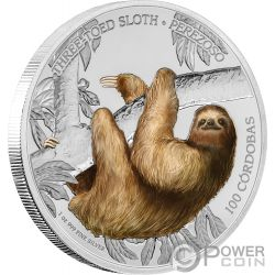 SLOTH Faultier Wildlife 1 Oz Silber Münze 100 Cordobas Nicaragua 2018