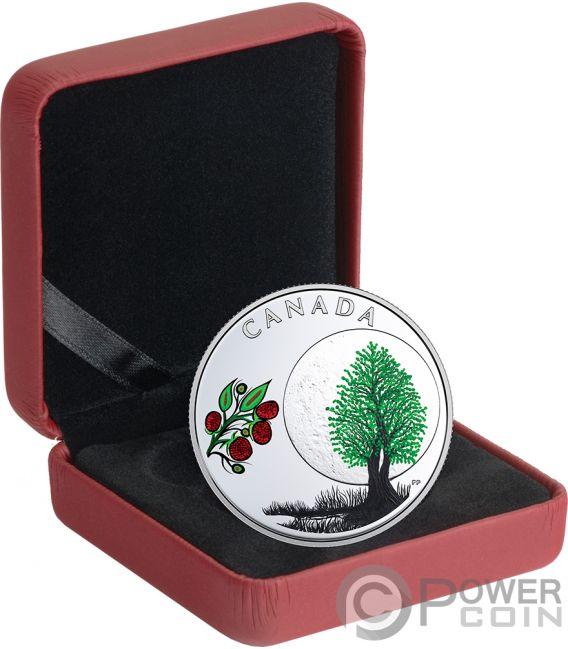 RASPBERRY MOON Teachings From Grandmother Silver Coin 3$ Canada 2018