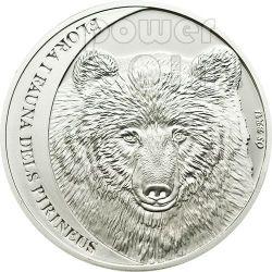 CANTABRIAN BROWN BEAR Pyrenees Серебро Монета 5D Андора 2010