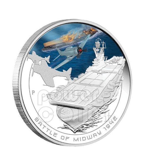 MIDWAY Battaglia Navale 1942 Moneta Argento1$ Cook Islands 2011