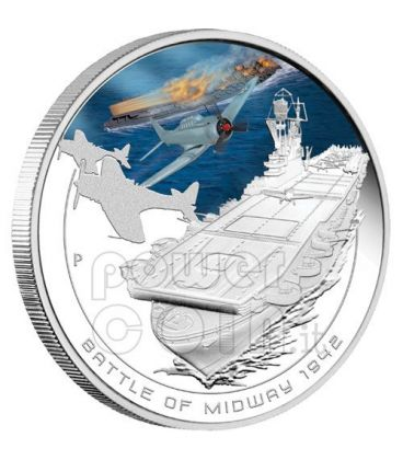 MIDWAY Naval Battle 1942 Silver Coin 1$ Cook Islands 2011