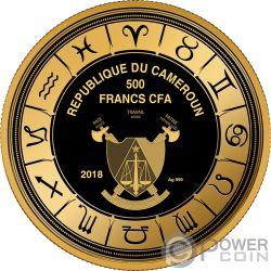 LEO Leone Zodiac Signs Moneta Argento 500 Franchi Cameroon 2018