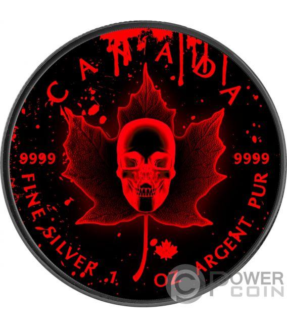 BLOOD SKULL Maple Leaf Ruthenium 1 Oz Silver Coin 5$ Canada 2018