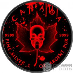 BLOOD SKULL Calavera Sangre Hoja Arce Maple Leaf Rutenio 1 Oz Moneda Plata 5$ Canada 2018