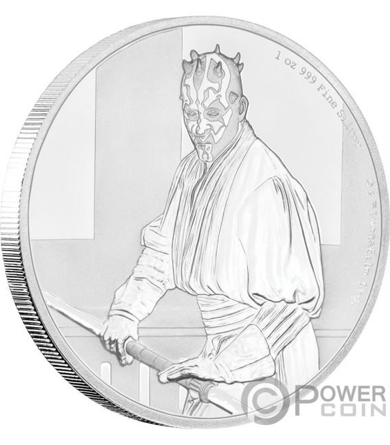 DARTH MAUL Star Wars Classic 1 Oz Silver Coin 2$ Niue 2018