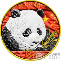 CHINESE FLAG Bandiera Cinese Panda Moneta Argento 10 Yuan China 2018