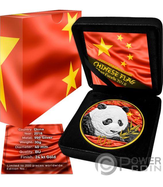 CHINESE FLAG Panda Silver Coin 10 Yuan China 2018