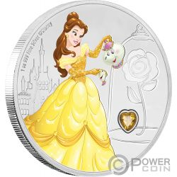 BELLE Bella Disney Princess Gemstone 1 Oz Moneda Plata 2$ Niue 2018
