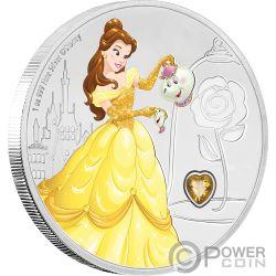 BELLE Schöne Disney Princess Gemstone 1 Oz Silber Münze 2$ Niue 2018