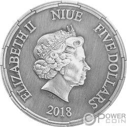 ERLANG SHEN Chinese Mythology 2 Oz Moneta Argento 5$ Niue 2018