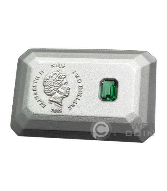 EMERALD 3D Shape Silver Coin 2$ Niue 2018
