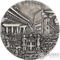 EARTHQUAKE Erdbeben Nepal Cataclysms 1 Oz Silber Münze 2$ Fiji 2017