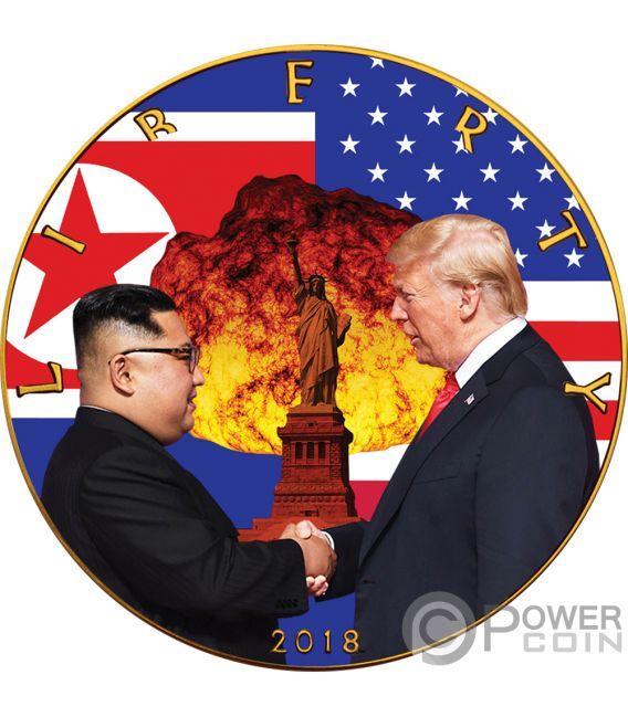 ATOMIC HANDSHAKE Kim Jong-un Donald Trump Walking Liberty 1 Oz Silver Coin 1$ US Mint 2018