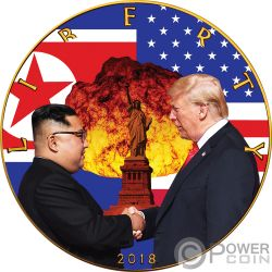 ATOMIC HANDSHAKE Kim Jong-un Donald Trump Walking Liberty 1 Oz Moneta Argento 1$ USA 2018