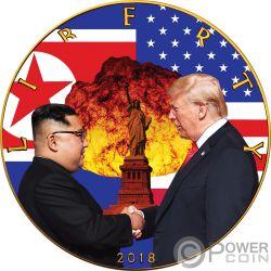 ATOMIC HANDSHAKE Kim Jong-un Donald Trump Walking Liberty 1 Oz Silber Münze 1$ USA 2018