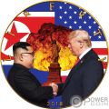 ATOMIC HANDSHAKE Kim Jong-un Donald Trump Walking Liberty 1 Oz Moneda Plata 1$ US Mint 2018