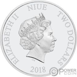 ALICE IN WONDERLAND Wunderland Disney Set 4x1 Oz Silber Münzen 2$ Niue 2018