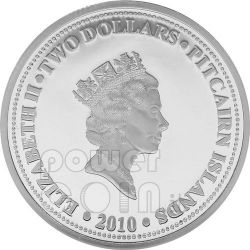 HMAV BOUNTY Moneda Plata Gilded 2$ Pitcairn Islands 2010