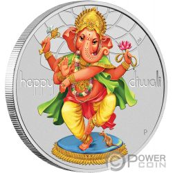 DIWALI FESTIVAL Luces Hindu 1 Oz Moneda Plata 1$ Tuvalu 2018
