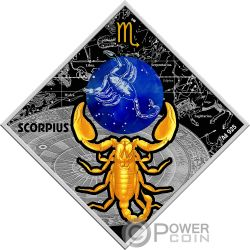 SCORPIO Skorpion Zodiac Signs Silber Münze 100 Denars Macedonia 2018