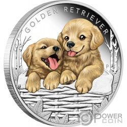 GOLDEN RETRIEVER Dog Puppies Silver Coin 50 Cents Tuvalu 2018