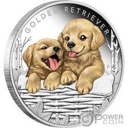 GOLDEN RETRIEVER Perro Puppies Moneda Plata 50 Centavos Tuvalu 2018