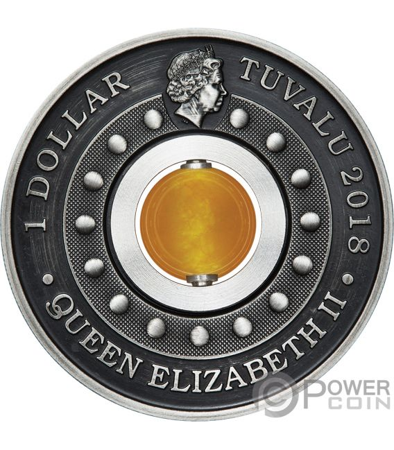 GOOD LUCK ROTATING CHARM Topaz 1 Oz Silver Coin 1$ Tuvalu 2018