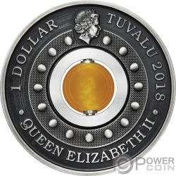 GOOD LUCK ROTATING CHARM Fortuna Topazio 1 Oz Moneta Argento 1$ Tuvalu 2018