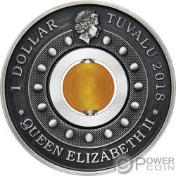 GOOD LUCK ROTATING CHARM Topaz 1 Oz Серебро Монета 1$ Тувалу 2018