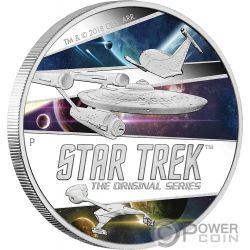 STAR TREK SHIPS Raumschiffe The Original Series 2 Oz Silber Münze 2$ Tuvalu 2018