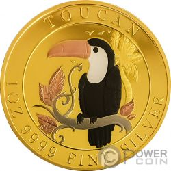 TOUCAN Tucano Five Metals Plated 1 Oz Moneta Argento 1$ Niue 2018