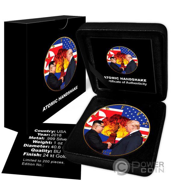 ATOMIC HANDSHAKE Kim Jong-un Donald Trump Walking Liberty 1 Oz Moneda Plata 1$ USA 2018