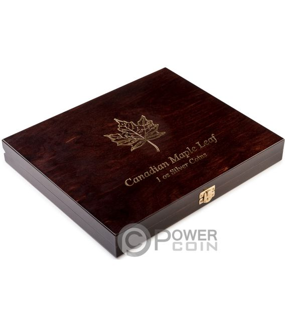 WOODEN CASE Maple Leaf 1 Oz Display 20 Silver Coins Holder