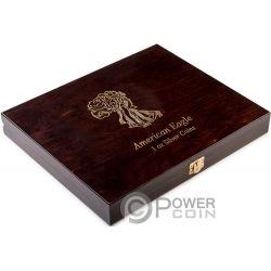 WOODEN CASE Caja Madera Walking Liberty American Silver Eagle 1 Oz Display 20 Monedas Plata Exposicion