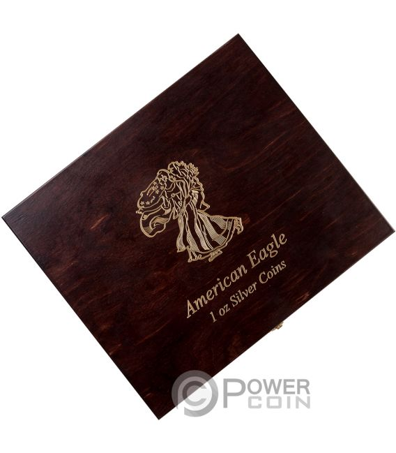 Wooden Case Walking Liberty American Silver Eagle 1 Oz
