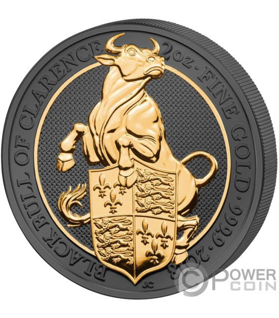 BLACK BULL QUEEN BEASTS Toro Reina Bestias Golden Enigma 2 Oz Moneda Plata 5£ United Kingdom 2018