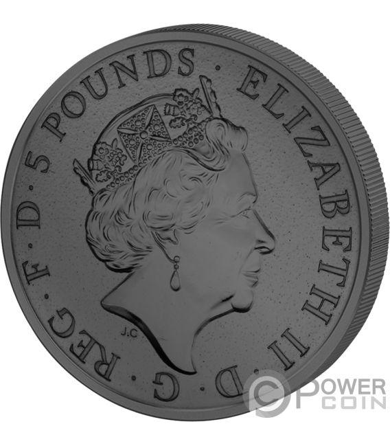 BLACK BULL QUEEN BEASTS Golden Enigma 2 Oz Silver Coin 5£ United Kingdom 2018