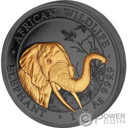 ELEPHANT Elefante Golden Enigma 1 Oz Moneda Plata 100 Shillings Somalia 2018