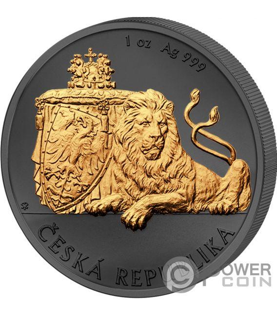 CZECH LION León Checo Golden Enigma 1 Oz Moneda Plata 2$ Niue 2018
