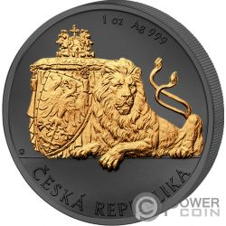CZECH LION Leone Ceco Golden Enigma 1 Oz Moneta Argento 2$ Niue 2018