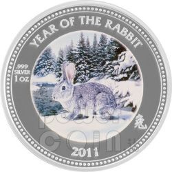 RABBIT PAW PRINT Lunar Year 1 Oz Silber Proof Münze 2$ Pitcairn Islands 2011