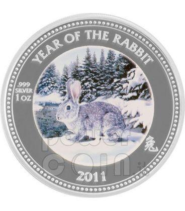 RABBIT PAW PRINT Lunar Year 1 Oz Silver Proof Coin 2$ Pitcairn Islands 2011