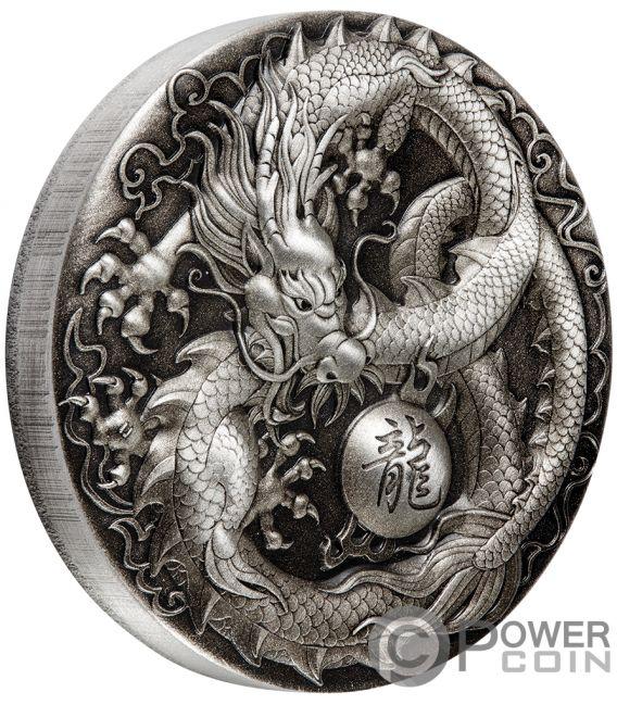DRAGON 5 Oz Silver Coin 5$ Tuvalu 2018