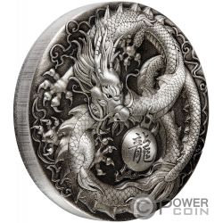 DRAGON 5 Oz Silver Coin 5$ Tuvalu 2018