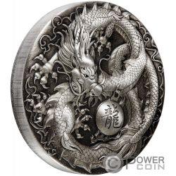 DRAGON Drago 5 Oz Moneta Argento 5$ Tuvalu 2018